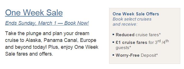 Holland America 推出一個星期的特價