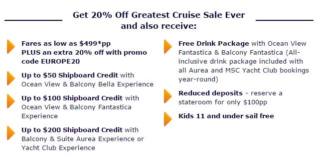 MSC 船票難得打折 (因為平常就比別家便宜很多了)