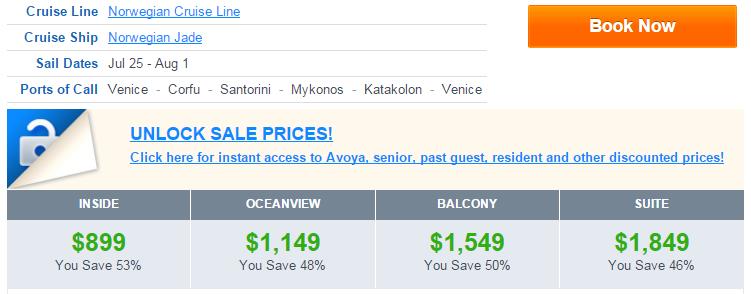 7月的地中海郵輪行程很少可以小於 1000 美金的