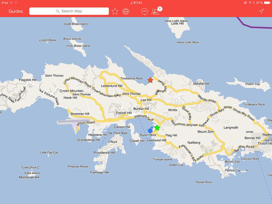出發前確認一下碼頭的位置 (紅色星星就是今天要去的沙灘所在)