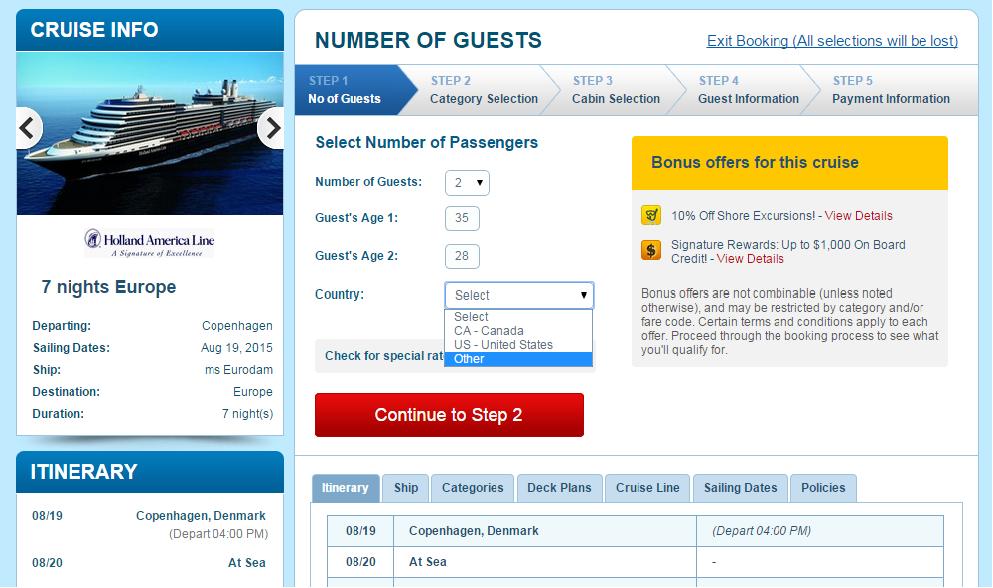 頁面下方有詳細的航程各站停靠時間,輸入乘客資訊可以得到報價