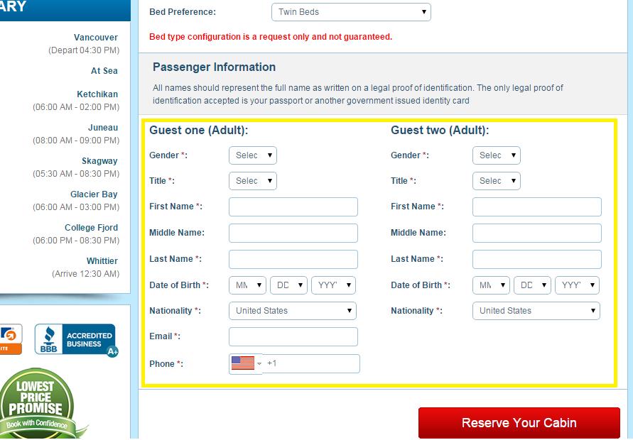 填寫乘客資訊 (需要正確的護照上的英文姓名,生日,以及英文住址)