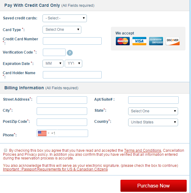 輸入信用卡資訊和英文的帳單地址