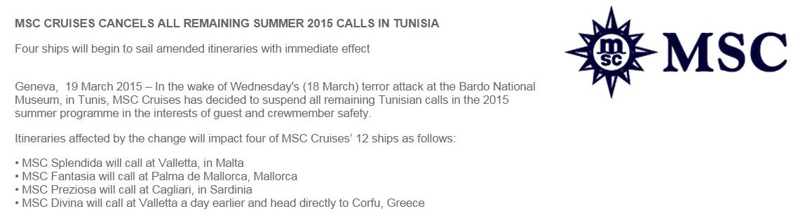 突尼西亞可能暫時無限期的自遊輪航線中取消了