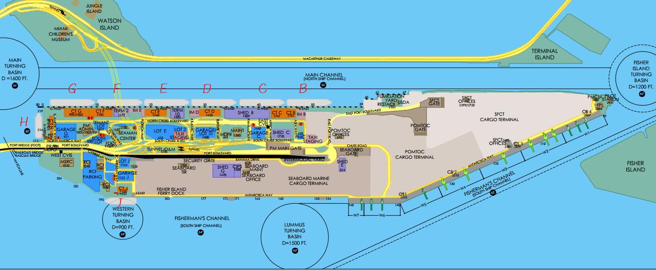 邁阿密碼頭地圖,雖然有點複雜,但是小奈都把 Terminal 編號好了