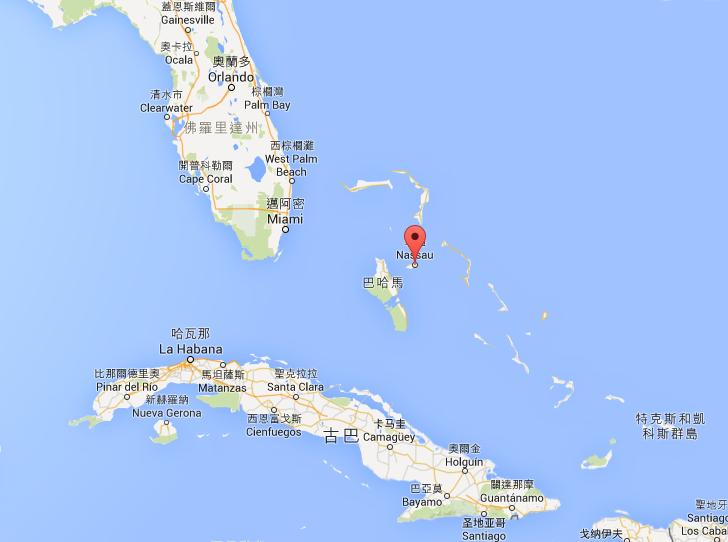 巴哈馬首都拿騷的位置,距離邁阿密很近