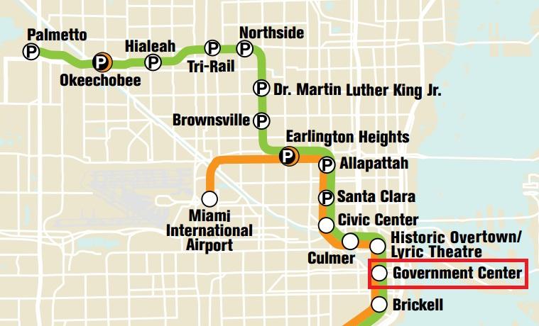 從邁阿密機場搭橘色線到 Government Center,這段車資約 2.4 美金