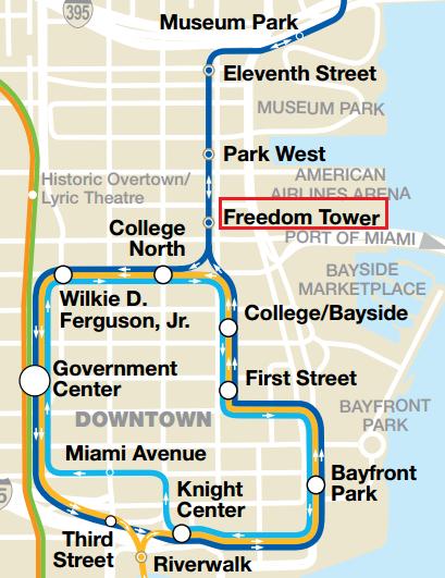 從 Government Center 轉乘 Miami Mover (免費) 到 Freedom Tower