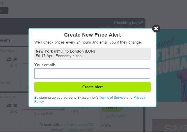 輸入自己的電子郵件地址,就可以收到每天的票價提醒了