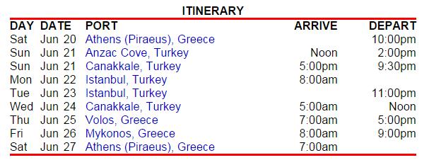 雅典进出的东地中海 7天行程