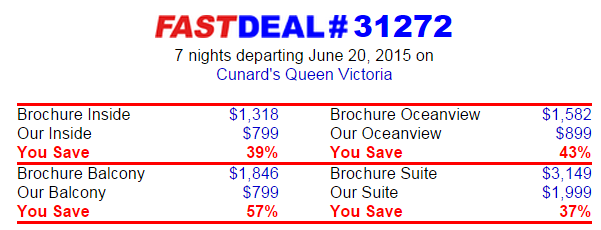Cunard 2015/6月 7天东地中海行程