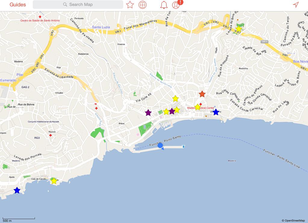 Funchal 城市附近的大致景點分布