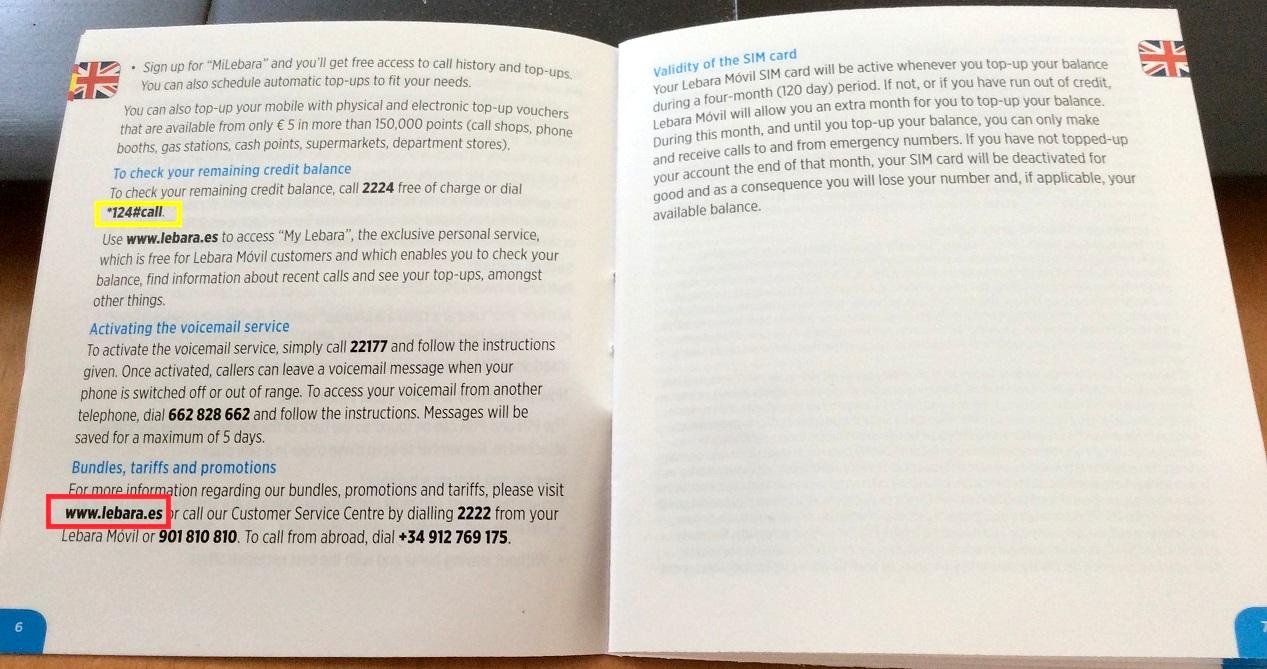 號碼開通後,照說明書裡面說的撥打 *124# 就可以得到剩餘儲值金額的簡訊 (西班牙文看不懂沒關係,看得懂數字就夠了)