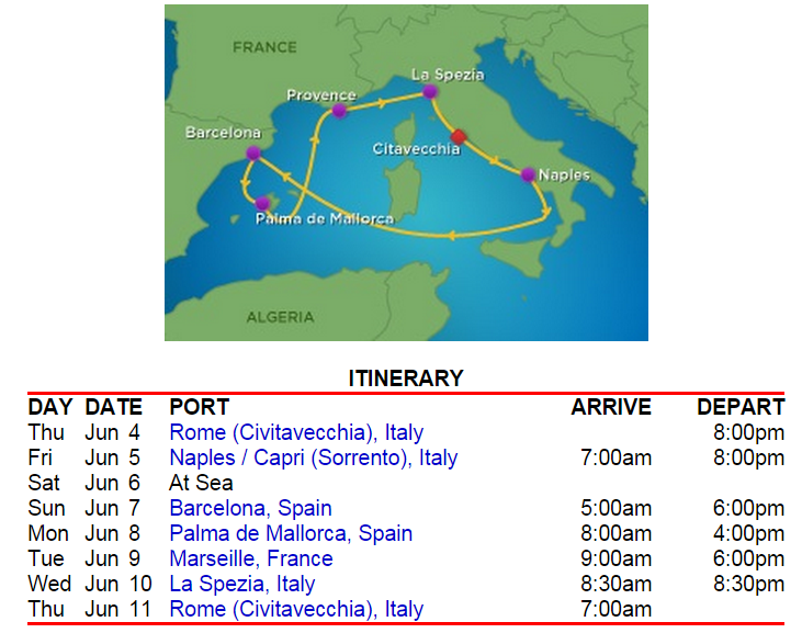 標準的西地中海航線,停靠時間也很優~