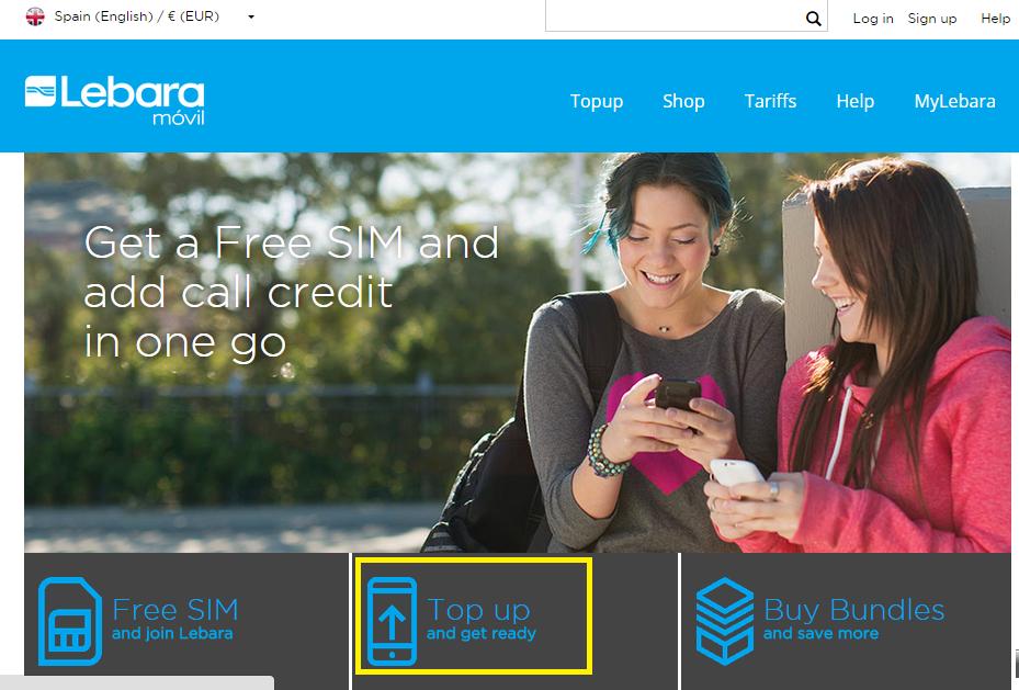 Lebara 的西班牙官網可以選擇英文顯示,儲值也很簡單,只要有要儲值 SIM 卡的電話號碼和信用卡或 paypal 帳號就可以了
