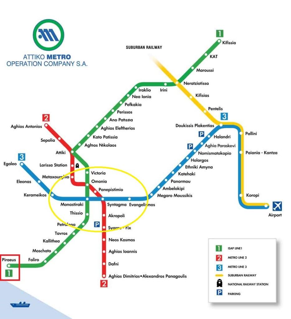 雅典地鐵圖,主要景點都在中間,碼頭就在左下 1 號線的起始點