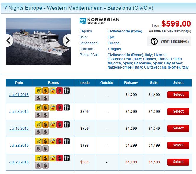 這個行程以 7/29 出發的航次最便宜