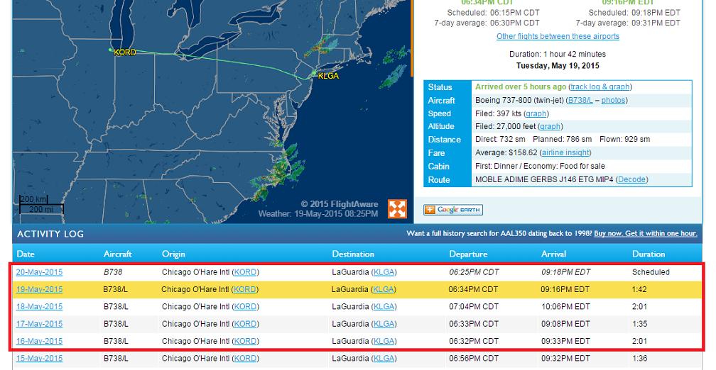 由最近航班的出發和抵達時間可以知道自己的航班狀況