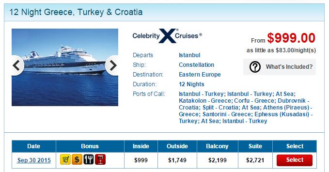 Celebrity 東地中海 12天行程