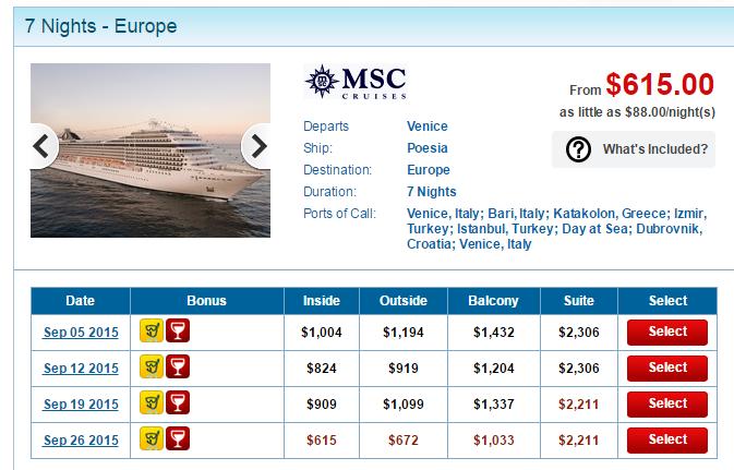 MSC Poesia 的 7天東地中海行程
