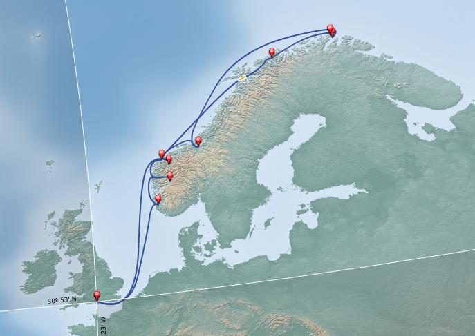 從英國 Southampton 出發,一路沿挪威峽灣到達歐陸的最北端