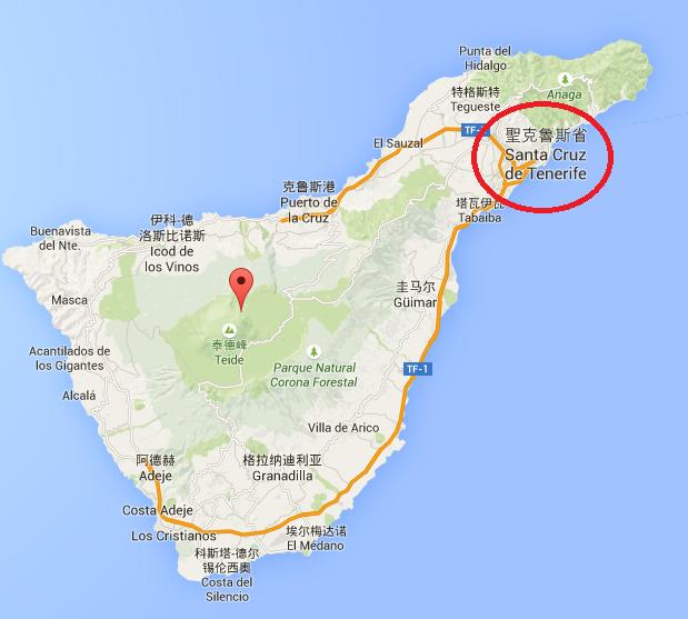 Tenerife 島長得有點像個小鴨子,中間紅色泡泡的地方就是著名的泰特火山,大部分的郵輪到這裡都是停靠在 Santa Cruz 港口