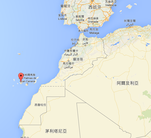 Tenerife 是西班牙屬地,地理位置在西非摩洛哥的外海