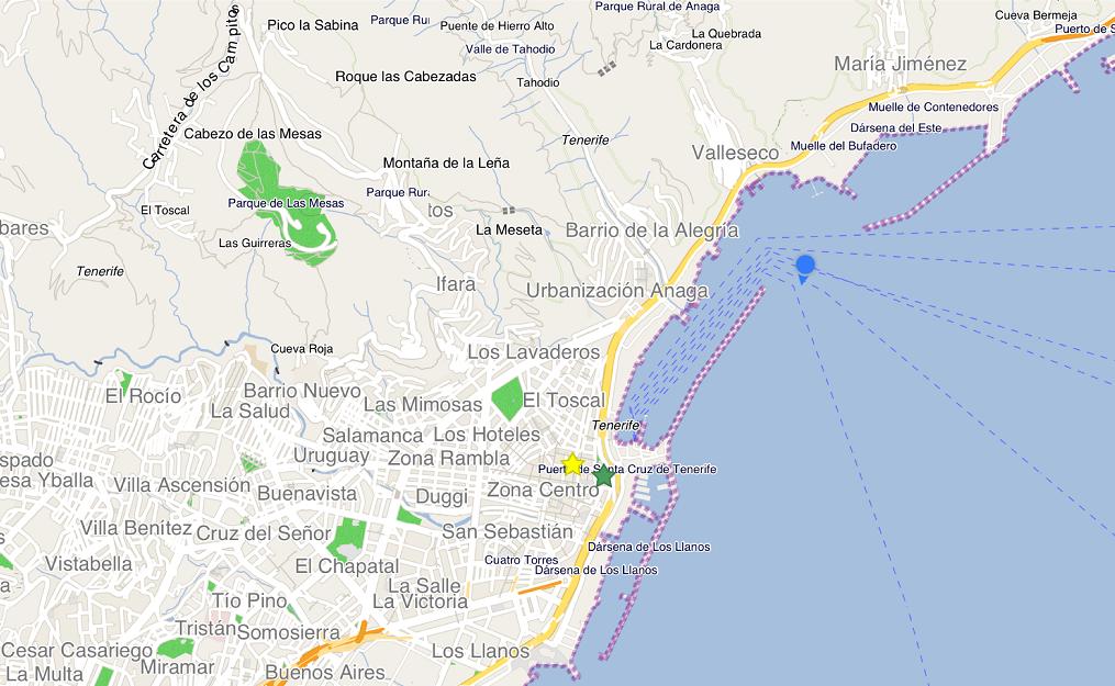 用 City Maps 2Go 來看,進港囉~