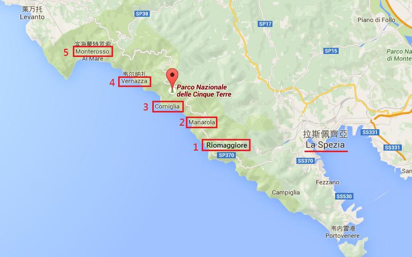 最靠近 La Spezia 的 Riomaggiore 和 Manarola 最知名,遊客最多