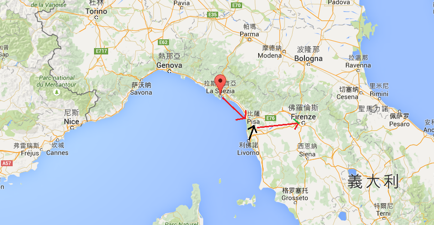 搭郵輪到比薩或弗羅倫斯還是從 Livorno 出發比較近,來到 La Spezia 就要去五漁村啦~
