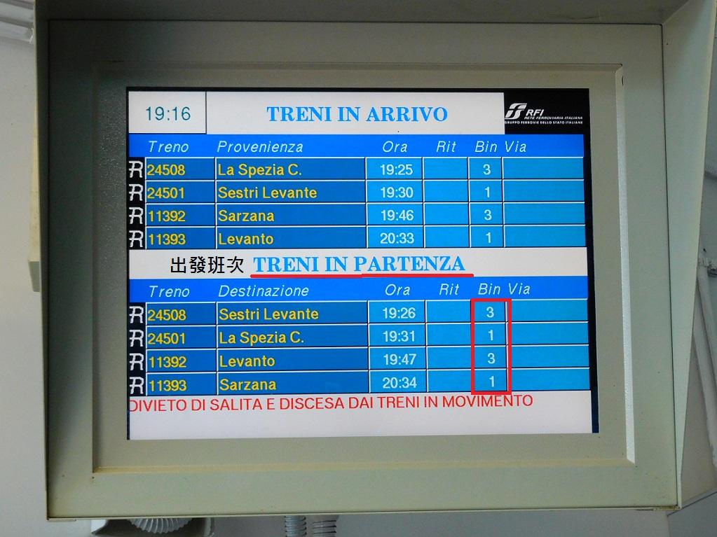 在月台上看下一班火車,記得看出發的車次,配合手上的時刻表,才不會走錯月台,越坐越遠喔~