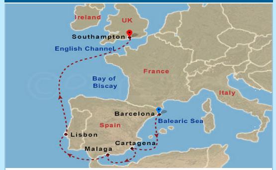 路線是從巴塞隆納進、英國出