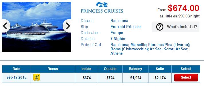 7天的 Emerald Princess 地中海行程只要台幣2萬