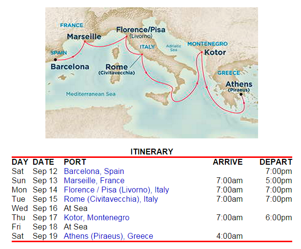 巴塞隆納出發,雅典下船