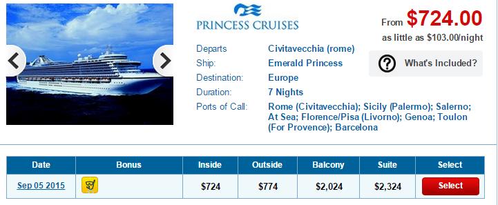 7天的地中海 Emerald Princess 行程只要台幣2萬2