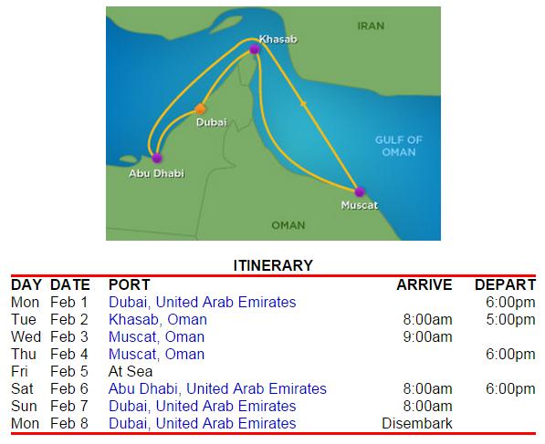 皇家加勒比海郵輪的航線和停靠時間