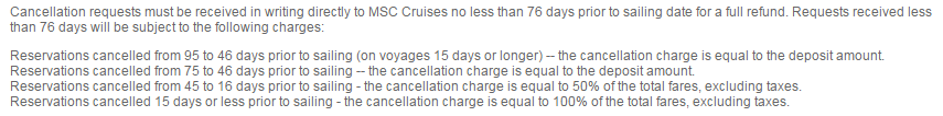 MSC _ 天數兩周以內的航程要在76天前取消才免扣錢
