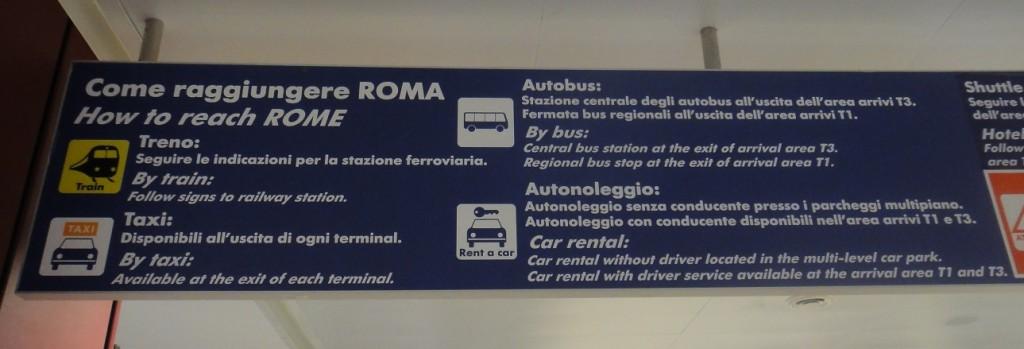 取行李的轉盤處就有到羅馬市區的交通建議