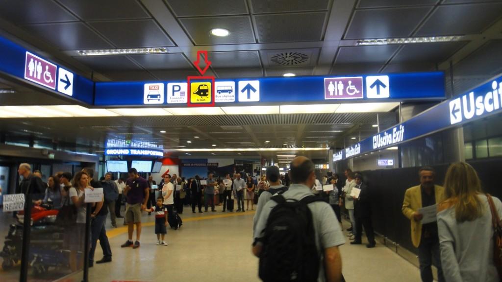 羅馬機場的指標相當多,只要沿著走,很容易就可以找到搭火車的地方