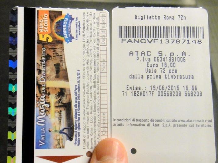 羅馬地鐵票就是長這樣囉~