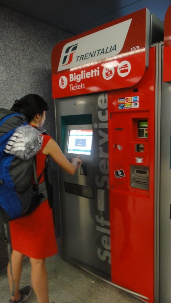 羅馬車站的火車票自動販賣機操作很簡單