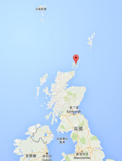 Orkney 群島的位置。夏天來到這麼北的地方,還是要穿外套的喔