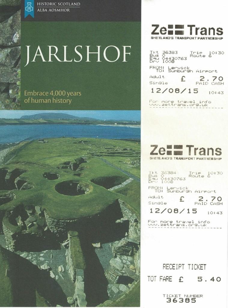 Jarlshof 是一個4000年前古人生活的遺跡,搭公車成人單程 2.7鎊 (左邊是廣告單,右邊是公車票)