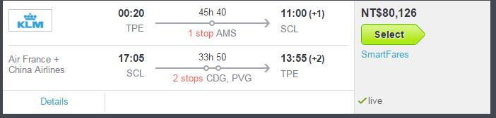 從台灣飛到南美要很久....... 機票也超級貴的 ><