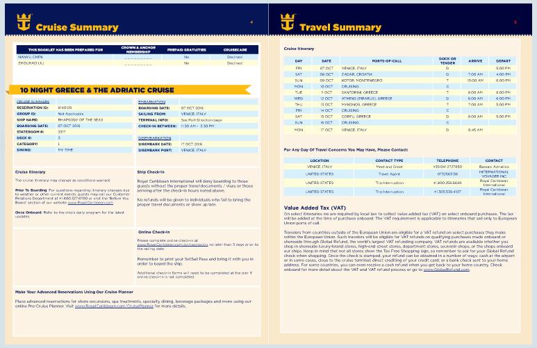 e-document 內容很多頁,主要就是跟大家解說一些關於遊輪旅行的注意事項