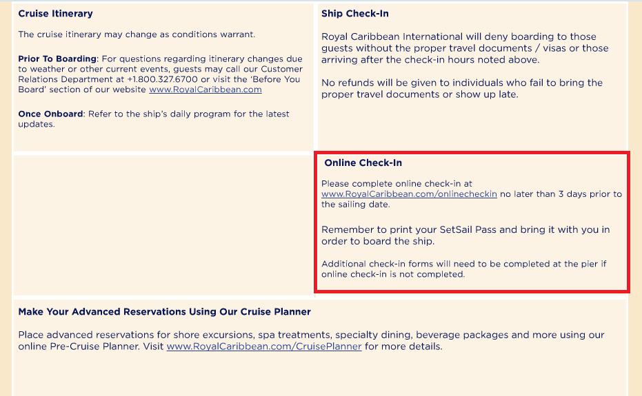 在 Cruise Summary 那一頁,可以找到登船的一些注意事項,裡面就有 online check-in 的連結