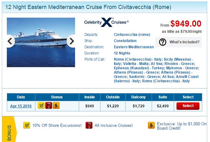高檔的 Celebrity 12天地中海行程,搭內艙相當划算