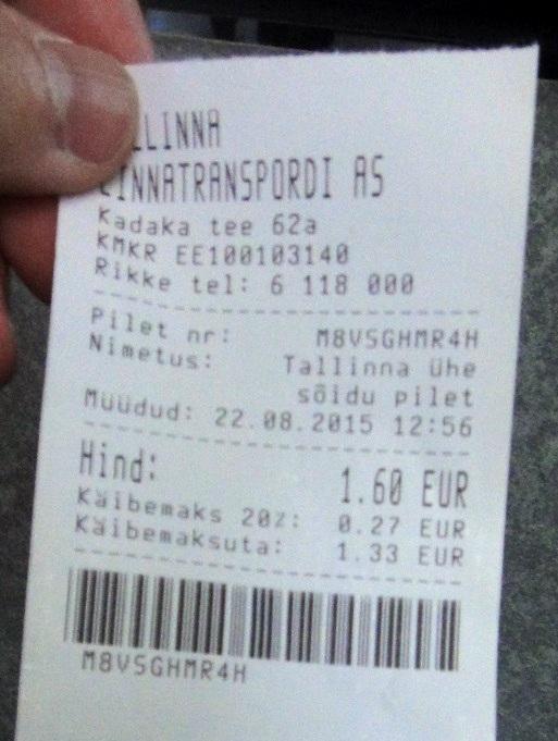 2015年公車票單程 1.6歐