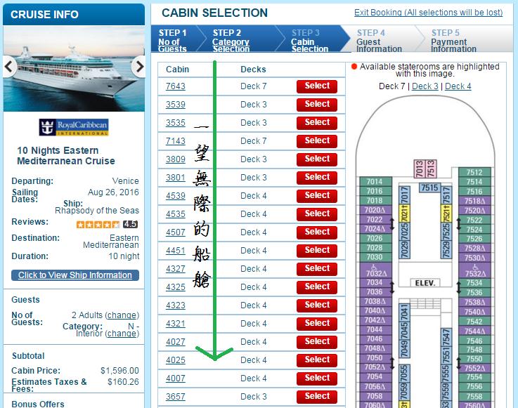 放眼望去一望無際的待售船艙,可以知道還不用急著訂 (其實這個下面至少還有十個以上的船艙,太長了,無法把整頁抓下來)