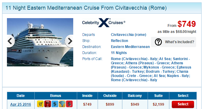 豪华的 Celebrity 11天地中海行程,竟然只要台币 2万5
